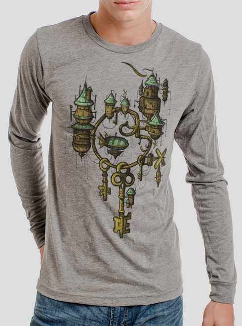 Key Kingdom - Multicolor on Heather Grey Triblend Men's Long Sleeve