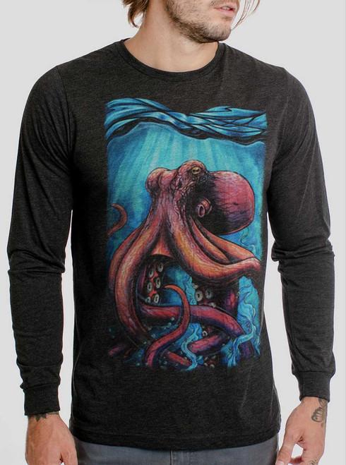 Octo - Multicolor on Heather Black Triblend Men's Long Sleeve