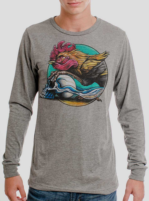 Rooster - Multicolor on Heather Grey Triblend Men's Long Sleeve