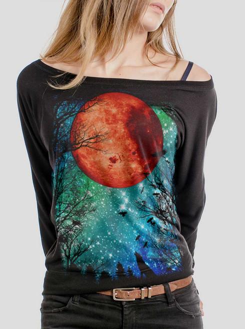 Blood Moon - Multicolor on Black Women's Long Sleeve Dolman