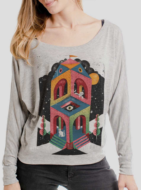 Space Cathedral - Multicolor on Athletic Heather Women's Long Sleeve Dolman