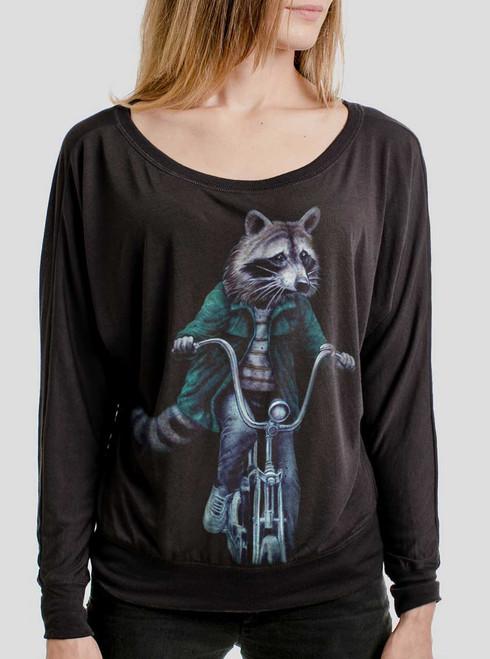 Raccoon - Multicolor on Black Women's Long Sleeve Dolman