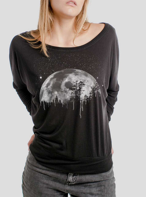 Moon - White on Black Women's Long Sleeve Dolman