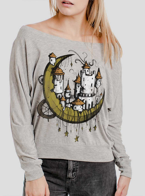 Moon Castle - Multicolor on Athletic Heather Women's Long Sleeve Dolman
