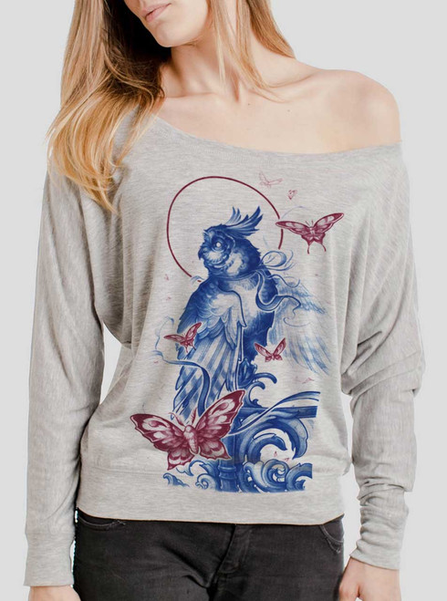 Owl and Moths - Multicolor on Athletic Heather Women's Long Sleeve Dolman