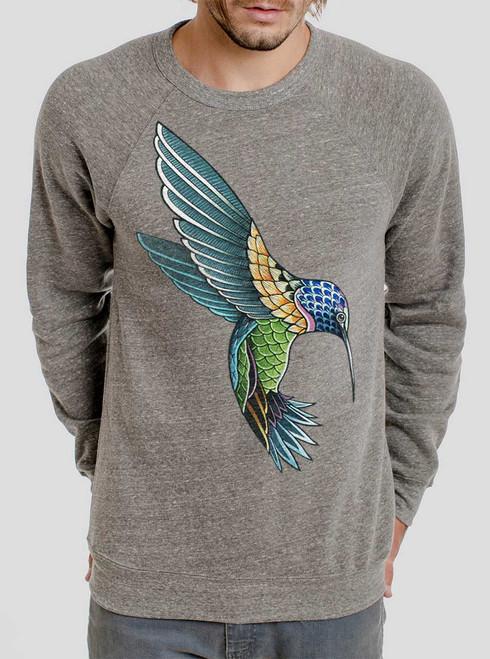 Hummingbird - Multicolor on Heather Grey Triblend Men's Sweatshirt