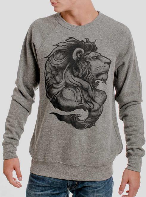 Lion - Black on Heather Grey Triblend Men's Sweatshirt