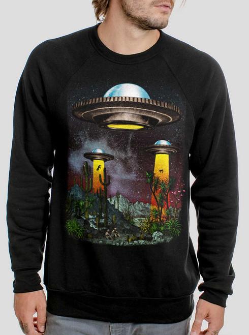 UFOs - Multicolor on Black Men's Sweatshirt