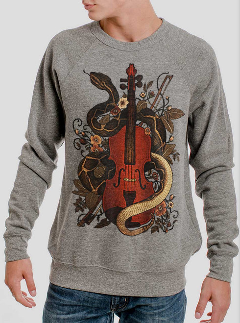 Rattlesnake Violin - Multicolor on Heather Grey Triblend Men's Sweatshirt