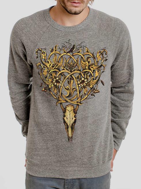 Deer Skull - Multicolor on Heather Grey Triblend Men's Sweatshirt