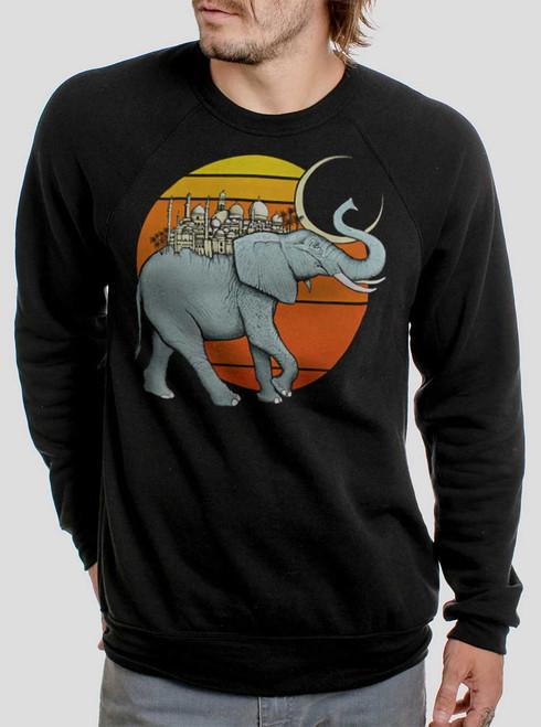 Elephant City - Multicolor on Black Men's Sweatshirt