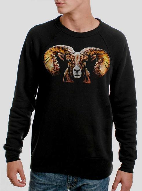 Ram's Head - Multicolor on Black Men's Sweatshirt