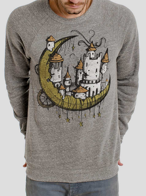 Moon Castle - Multicolor on Heather Grey Triblend Men's Sweatshirt