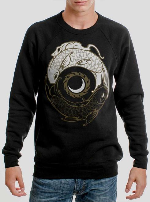 Koi Balance - Multicolor on Black Men's Sweatshirt