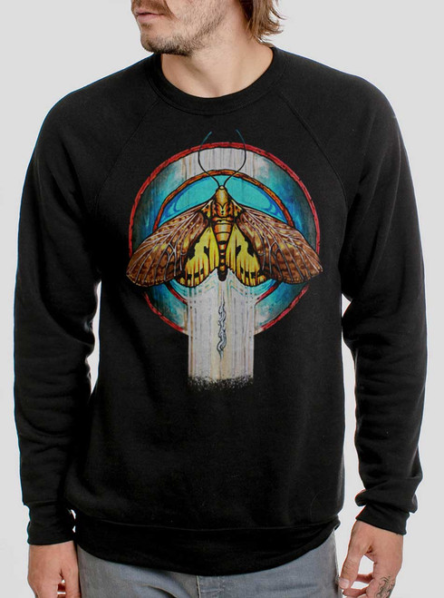 Moth - Multicolor on Black Men's Sweatshirt