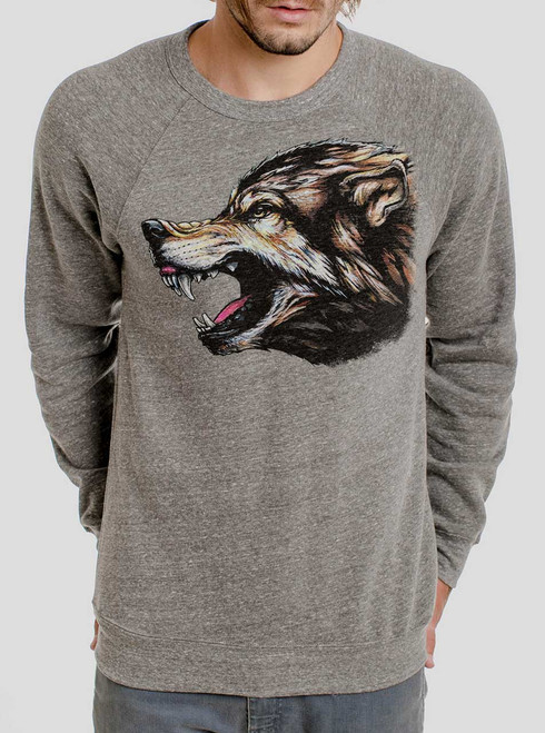 Wolf's Head - Multicolor on Heather Grey Triblend Men's Sweatshirt