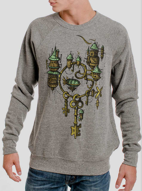 Key Kingdom - Multicolor on Heather Grey Triblend Men's Sweatshirt