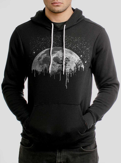 Moon - White on Black Men's Pullover Hoodie