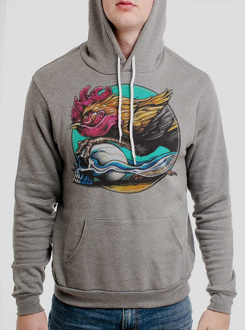 Rooster - Multicolor on Heather Grey Men's Pullover Hoodie