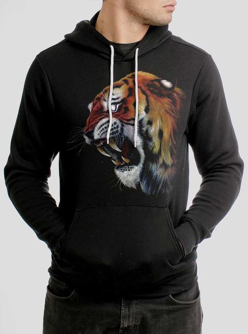 Tiger's Head - Multicolor on Black Men's Pullover Hoodie