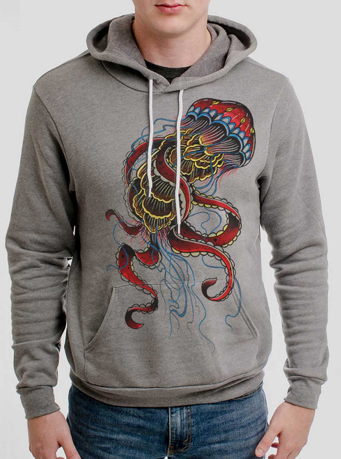 Jelly - Multicolor on Heather Grey Men's Pullover Hoodie