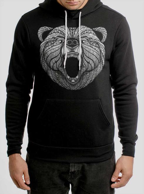 Bear - White on Black Men's Pullover Hoodie