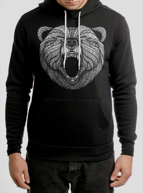 Bear - White on Black Men's Pullover Hoodie