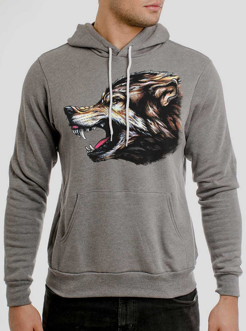 Wolf's Head - Multicolor on Heather Grey Men's Pullover Hoodie