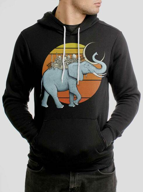 Elephant City - Multicolor on Black Men's Pullover Hoodie