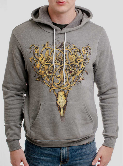 Deer Skull - Multicolor on Heather Grey Men's Pullover Hoodie