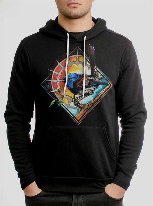 Blue Bird - Multicolor on Black Men's Pullover Hoodie