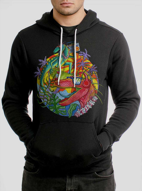 Rad Raptors - Multicolor on Black Men's Pullover Hoodie