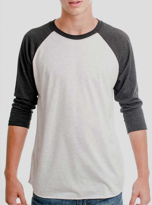 Heather White and Black Triblend Raglan - Blank Men's 3/4 Sleeve Shirt
