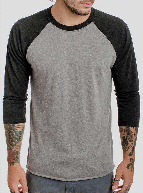 Heather Grey and Black Triblend Raglan - Blank Men's 3/4 Sleeve Shirt