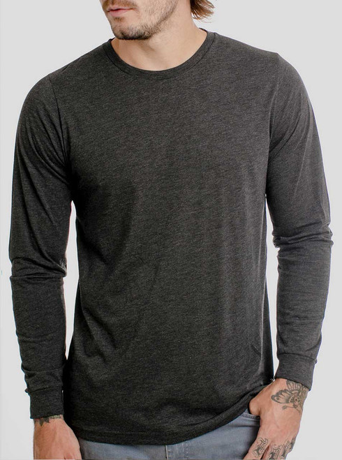 Heather Black Triblend - Blank Men's Long Sleeve Shirt