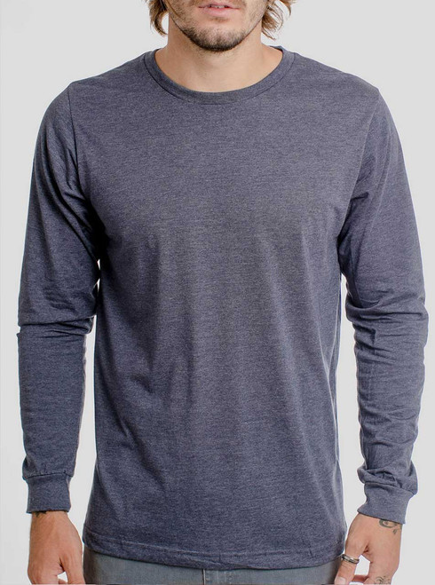 Heather Navy - Blank Men's Long Sleeve Shirt