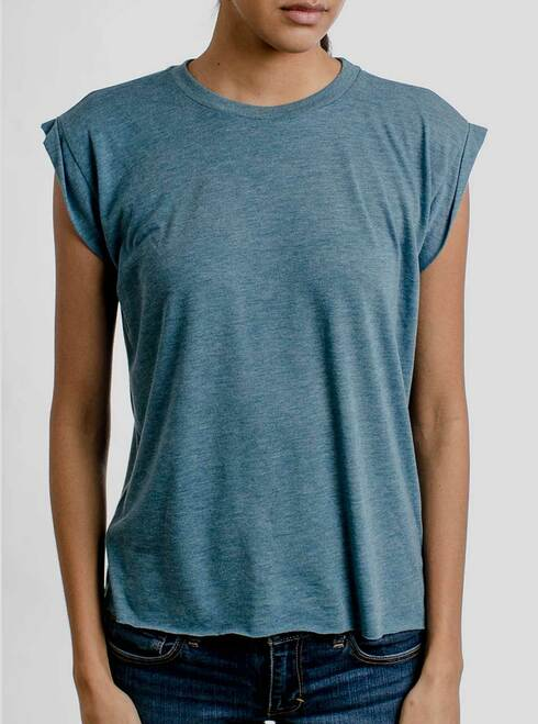 Heather Deep Teal - Blank Women's Rolled Cuff Shirt