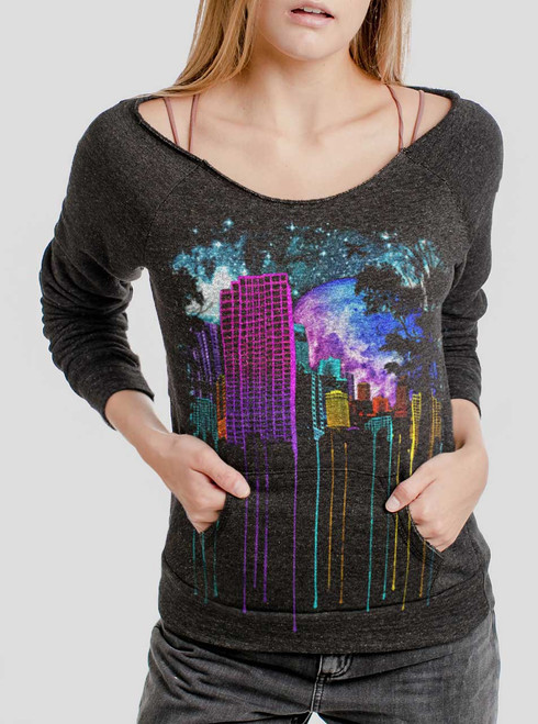 The City - Multicolor on Charcoal Triblend Women's Maniac Sweatshirt