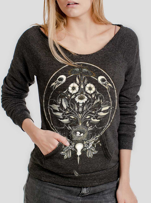The Raven's Drum - Multicolor on Charcoal Triblend Women's Maniac Sweatshirt