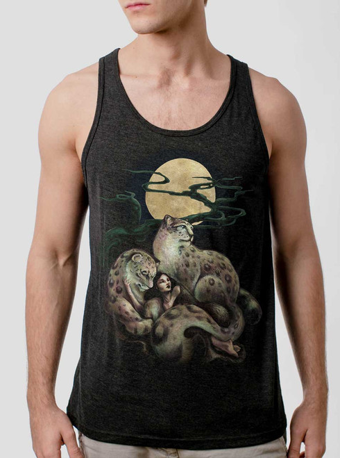 Creature Comfort - Multicolor on Heather Black Triblend Mens Tank Top
