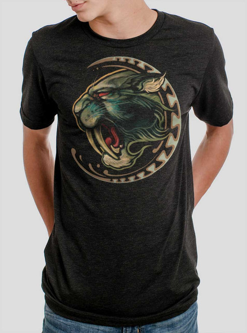 Sabertooth - Multicolor on Heather Black Triblend Mens T Shirt
