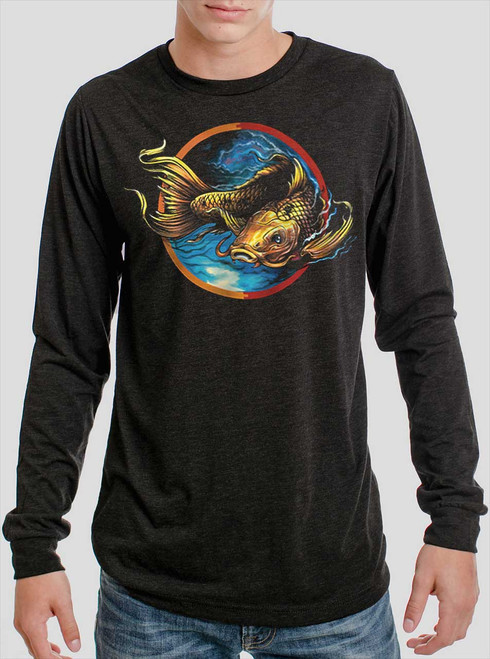 Upstream - Multicolor on Heather Black Triblend Men's Long Sleeve