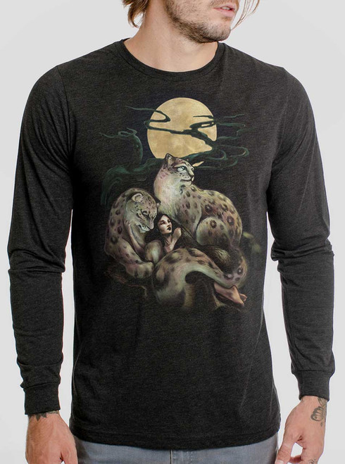 Creature Comfort - Multicolor on Heather Black Triblend Men's Long Sleeve