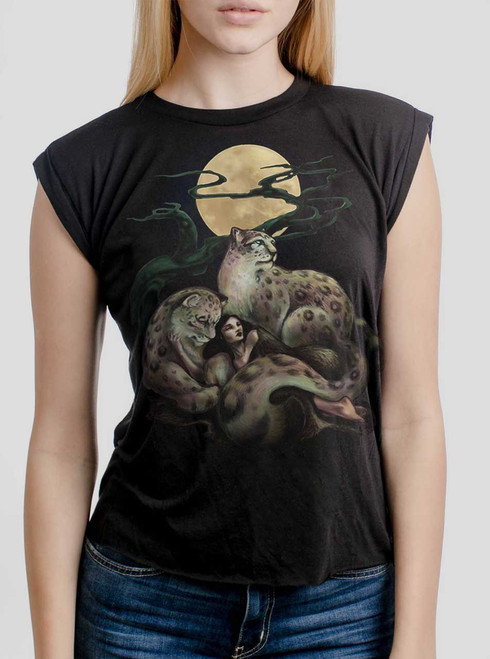 Creature Comfort - Multicolor on Black Women's Rolled Cuff T-Shirt