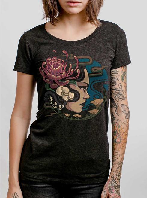 Flora  - Multicolor on Heather Black Triblend Womens T-Shirt