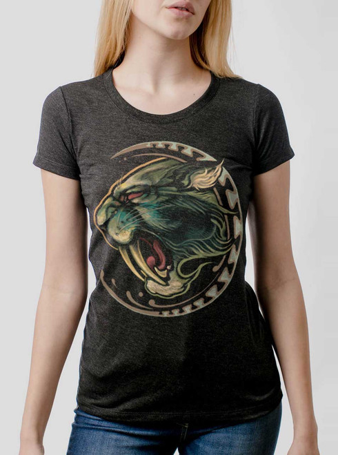 Sabertooth - Multicolor on Heather Black Triblend Womens T-Shirt