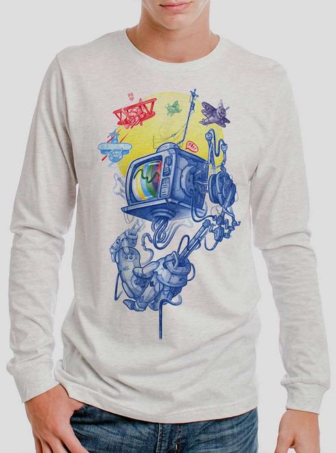 Controller - Multicolor on Heather White Men's Long Sleeve