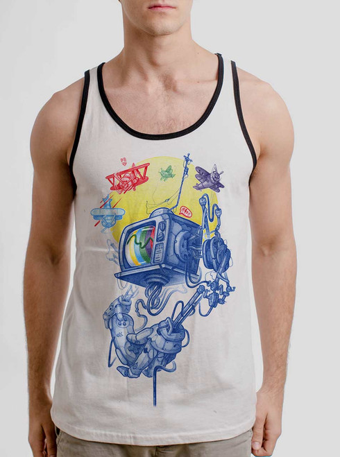 Controller - Multicolor on White with Black Mens Tank Top
