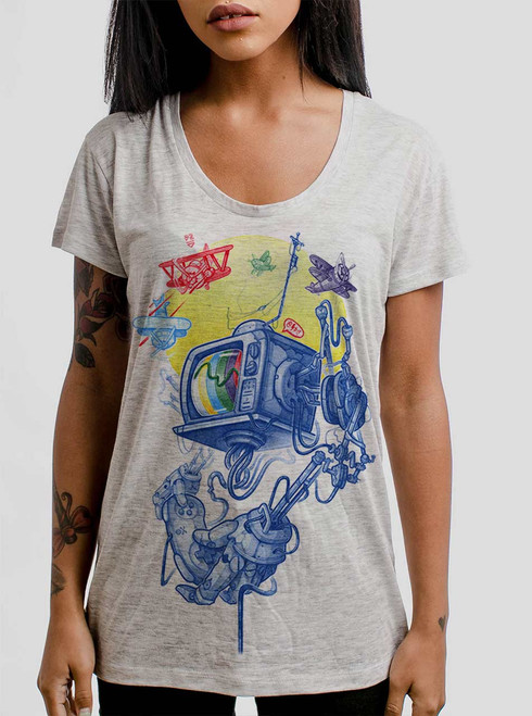 Controller - Multicolor on Heather Oatmeal Women's Relaxed Fit T Shirt