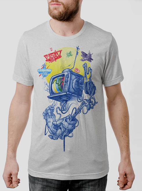 Controller - Multicolor on Heather White Triblend Mens T Shirt